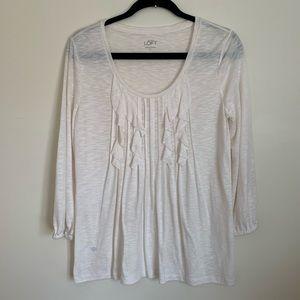 LOFT Long Sleeve Pleated T-Shirt